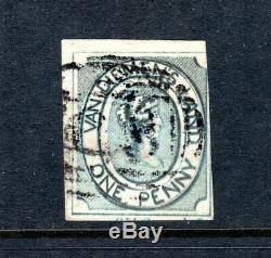 Tas Sg 1 1d Blue Courier, Superb Fine Used and Very Rare. Sg cv £1500