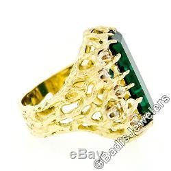 VERY FINE 18k Gold 12.22ctw GIA Large Long Green Tourmaline & Diamond Open Ring