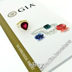 VERY FINE 18k Yellow Gold 8.10ctw GIA Pear Rubellite Tourmaline & Diamond Ring