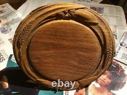 VERY FINE Collectable carved Victorian bread board with 2 rosettes & 2 wheat