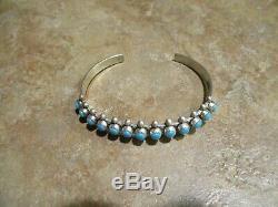 VERY FINE Vintage Navajo Sterling Silver SNAKE EYE Turquoise Row Bracelet
