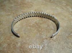 VERY FINE Vintage Zuni Sterling Silver PETIT POINT Turquoise Row Bracelet