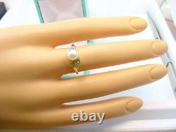 VERY NICE CULTURED AKOYA PEARL 6.38 mm. & DIAMONDS VINTAGE 10K GOLD RING