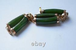 VINTAGE 18KT GOLD and DARK GREEN JADE LINK BRACELET. VERY FINE Estate Fresh