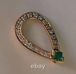 Very Beautiful Fine Quality 18ct Gold Diamond Emerald Pendant
