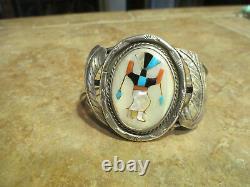 Very FINE Vintage Zuni Sterling Silver Inlay Multi-Stone GHAN DANCER Bracelet
