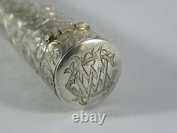 Very Fine 15ct Gold and Amber Cheroot Or Cigar Holder, 1899 & Silver Case