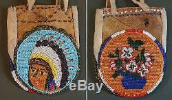 Very Fine 1920's Native American Plains 2 Sided Beaded Bag Chief & Flowers