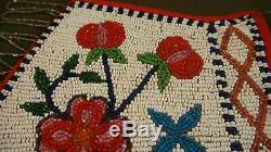 Very Fine 1930's Native American Plateau Beaded Floral Bag with Beaded Tassles