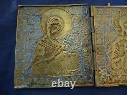 Very Fine 19th Antique Russian Brass Enamel Triptych Deisis Christ Travel Icon