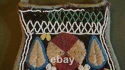 Very Fine 19th Century Native American Wabanaki Maliseet Beaded Pouch 2 Sided