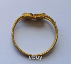 Very Fine Ancient Roman High Carat Gold Ring With Two Garnets 200-400 Ad