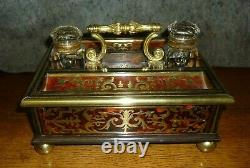 Very Fine Antique Boulle Deskstand Inkwell In The Manner Of Leuchars