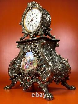 Very Fine Antique clock Silver 800 Mother pearl Painted ceramics Luis XV