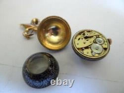 Very Fine Deco Sterling Silver Enamel Ball Watch Brooch Pendant
