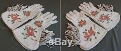 Very Fine Early 1900 Native American Cree Metis Embroidered Gauntlet Gloves