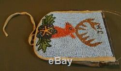 Very Fine Early 1900 Native American Nez Perce Beaded Hardened Leather Pouch
