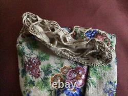 Very Fine Georgian English Beaded Purse Or Drawstring Bag 19thc Large 26cm