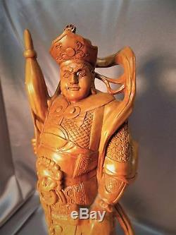 Very Fine Hardwood Detailed Old Chinese Carved Warrior Figurine Statue
