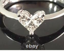 Very Fine Heart Design Unique Fancy Cut Diamond Ring In 18 K White Gold