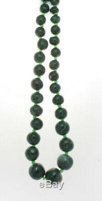 Very Fine Malachite Beaded Necklace 624 Cts. 22' Inches
