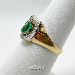 Very Fine Natural Emerald Diamond 14k Gold Horseshoe Ring (5939)
