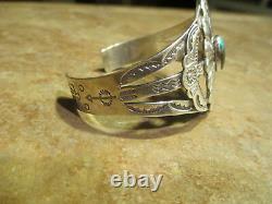 Very Fine OLD Fred Harvey Era Navajo Sterling Turquoise CONCHO Design Bracelet