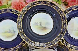 Very Fine, Royal Worcester, Cobalt/Gold Plates with Ruined Scottish Castles (8)