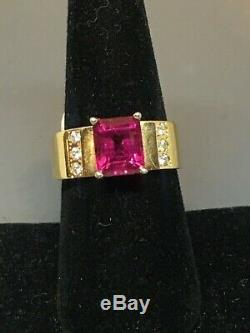 Very Fine Rubellite Pink Tourmaline Diamond 14k Engagement Solitaire Ring 2.5cts