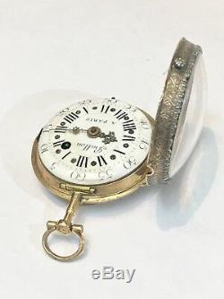 Very Fine Small 18k Gold, Diamonds Enamel Verge Pocket Watch By Ballon A Paris