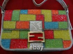 Very Fine Vintage Fendi Fully Beaded Logo Snake Leather Baquette Purse