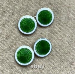 Very Fine Vintage GREEN ENAMEL AND SILVER Chain Link Cufflinks