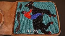Very Fine Vintage Native American Plateau Yakama Beaded Bag Rider on a Horse