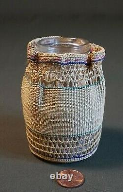 Very Finely Woven Native American Aleut Attu Basketery Bottle Aleutian Island