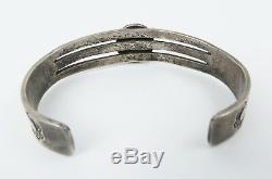 Very fine 1960s era sterling silver turquoise Navajo cuff bracelet hearts