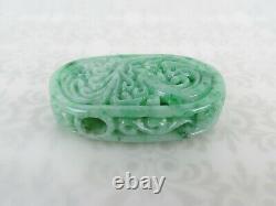 Very fine carved green natural Jade Pendant enhancer dragon floral