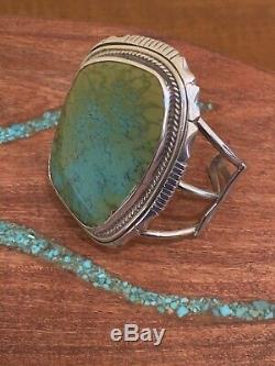 Very fine green turquoise Navajo bracelet. Sterling silver. New Condition