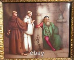 Very finely painted porcelain plaque Columbus visited by Monks KPM Berlin
