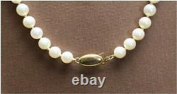 Vintage Akoya Pearl elongated necklace, Gold clasp, Very Fine