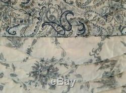 Vintage Quilt Blue & Ivory Toile Chinoiserie Very Fine 100% Cotton