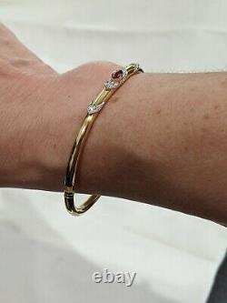 Vintage Ruby and Diamond Bangle Bracelet 18K Yellow Gold Very Fine Quality