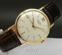 Vintage & Very Fine LONGINES Automatic & Date, 18 kts solid gold, made in 50's