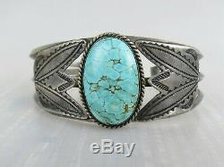 Vintage very fine 1950s sterling silver spiderweb turquoise Navajo cuff bracelet